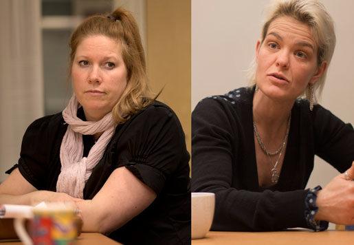 Det har gått väldigt bra med nyrekryteringen, säger Ann-Charlotte Dahlbom Larsson, enhetschef, och hennes kollega Charlotte Jern berättar hur försöket uppmärksammats av både svenska och utländska medier. Foto: Björn Larsson Rosvall