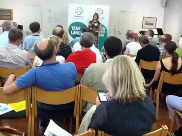 Presskonferens med Annie Lööf (C) i Almedalen.