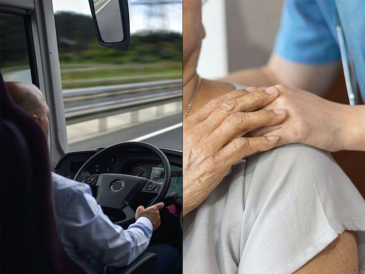 Bussförare och undersköterska (genrebilder).