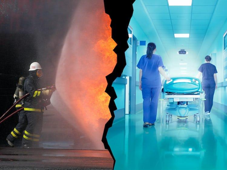 Brandman och undersköterskor (genrebild).