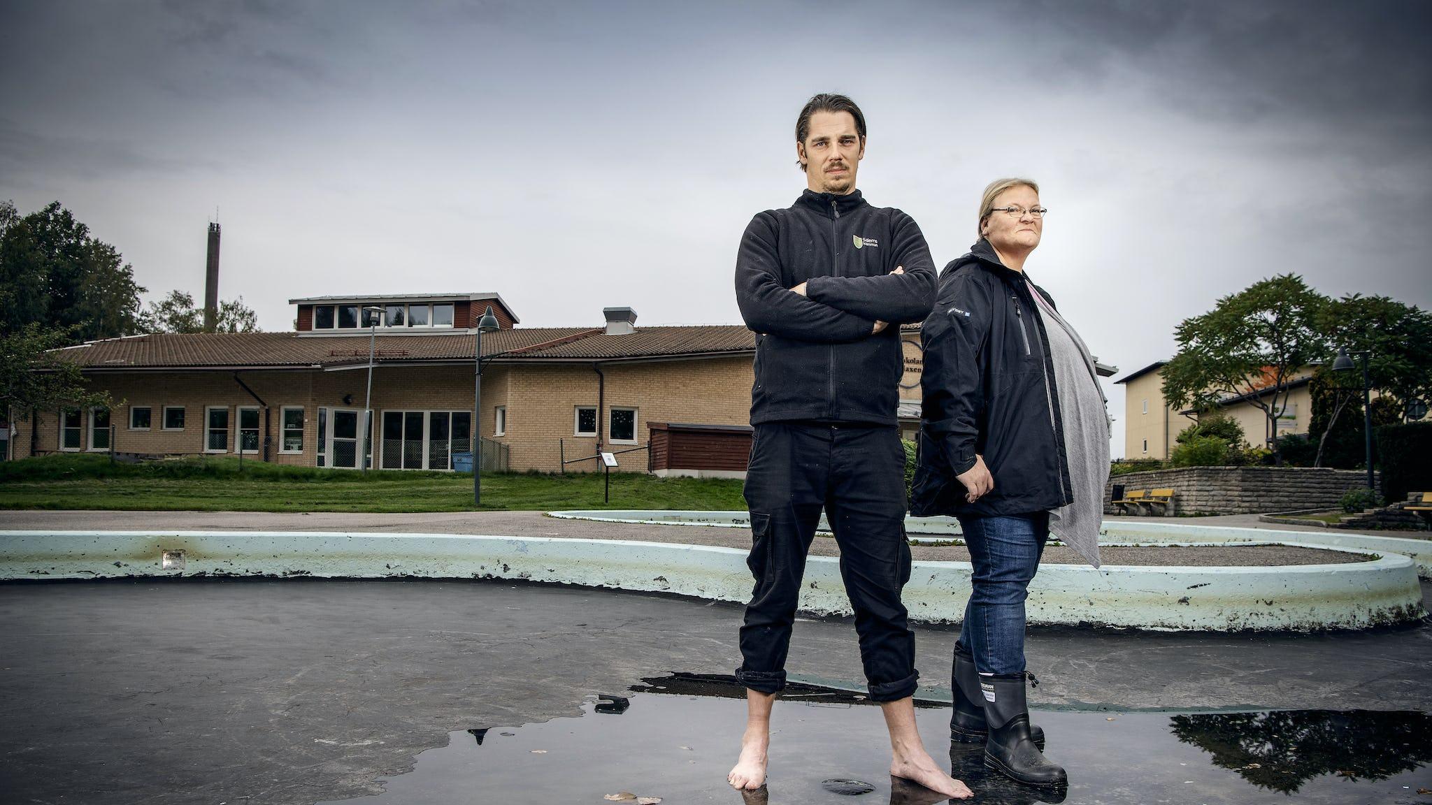 Tobias Sundberg och Camilla Cooper, barnskötare.