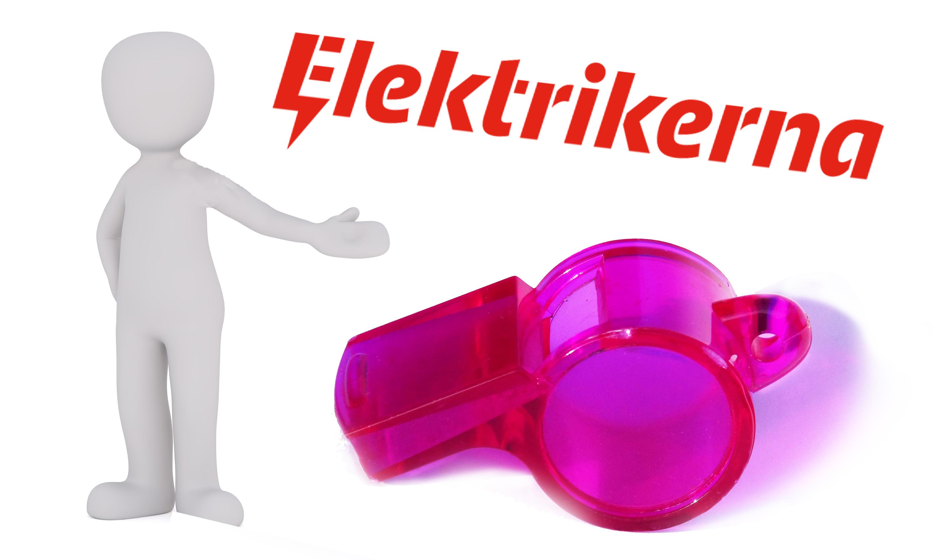 Bilden föreställer en vit lergubbe som gestikulerar med ena handen mot en stor, rosa visselpipa under Elektrikerförbundets logotyp.