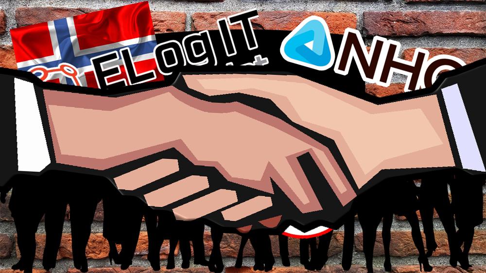 Bilden föreställer en tecknad folksamling i silhuette, med höjda plakat. Över bilden är monterat den norska flaggan, samt logotyperna för El og IT-förbundet, LO och NHO.