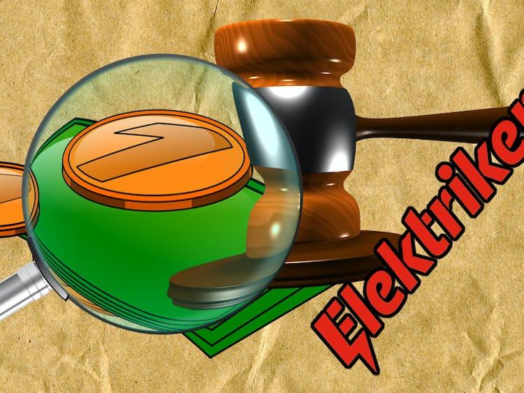 Ett förstoringsglas riktat mot tecknade pengar och en domarklubba, samt Elektrikernas logga.
