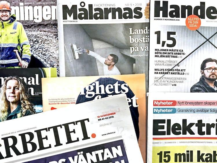 En samling tidningar från LO Mediehus