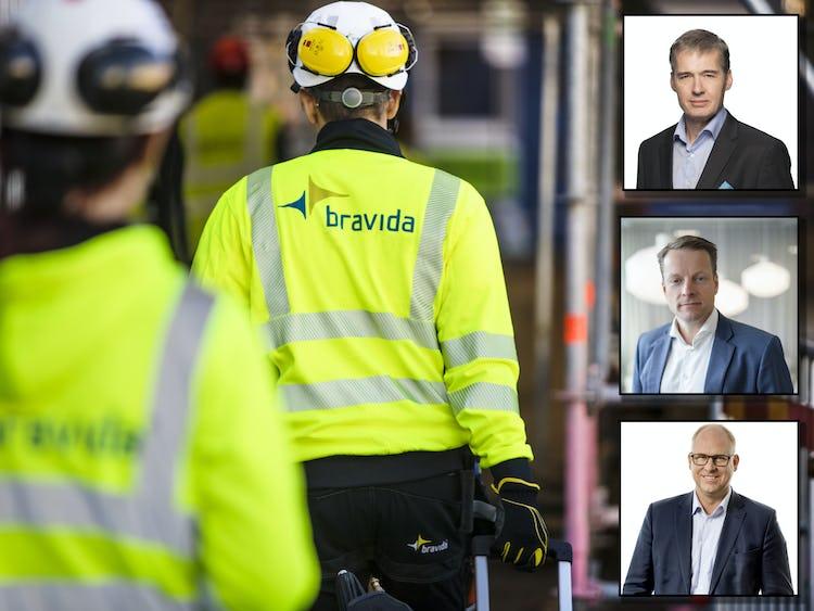 Ryggarna på två personer i reflexjackor och skyddshjälmar på väg in på en arbetsplats, med foton på intervjupersonerna infällda till höger