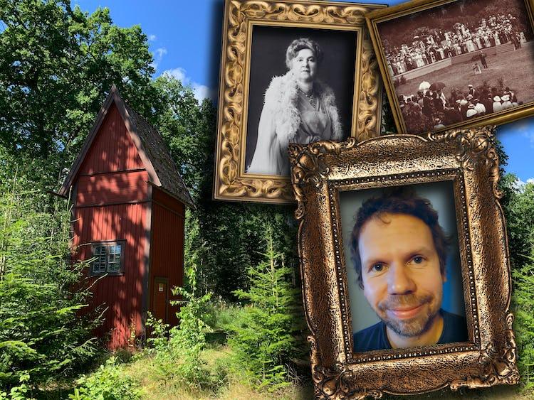 En bild på en röd stuga i en grönskande skog, med fotoramar monterat över innehållande bilder på Markus Edlund, Katherine Tingley och fredskongressen på Visingsö