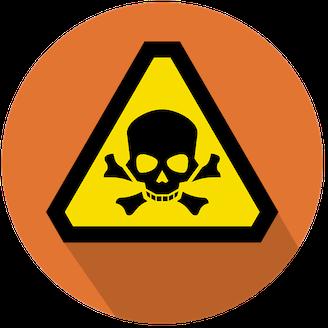 En stiliserad varningsskylt med en dödskalle på