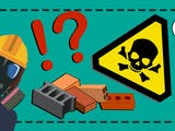 En tecknad elektriker med gasmask bredvid en hög med byggmaterial och en varningsskylt med en dödskalle på