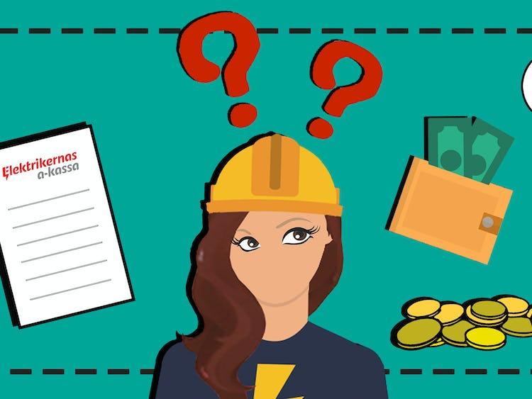 En tecknad elektriker tittar frågande på pengar och ett dokument där det står elektrikernas a-kassa