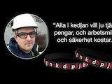 """En bild på Håkan Kaneteg invid två armband med texten """"ingen ska dö på jobbet"""", och citatet: """"Alla i kedjan vill tjäna pengar, och arbetsmiljö och säkerhet kostar."""""""