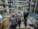 Klas Kristensson, Frank Gåsberg och Tony Nordström på arbetsplatsen