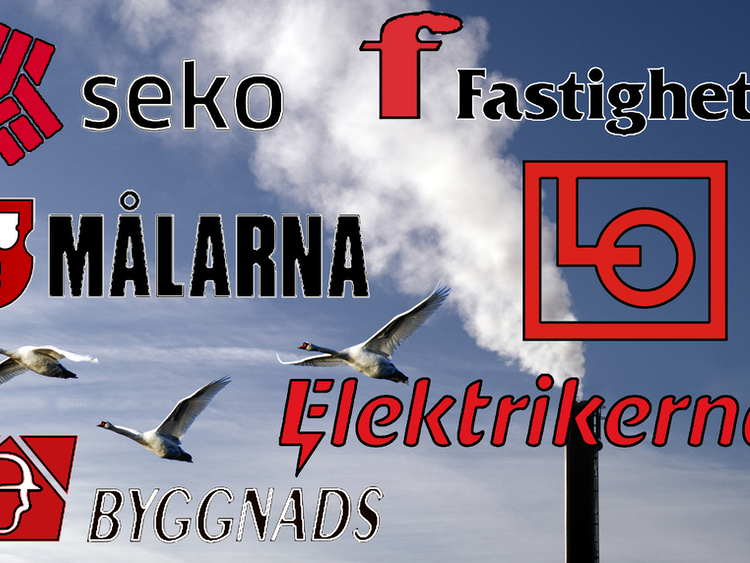 Några fåglar flyger mot en blå himmel med en skorsten som släpper ut vit rök. Över bilden är 6F-förbundens och LO:s loggor monterade