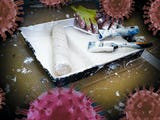 En samling målarverktyg i ett roller-tråg, med bilder av det nya coronaviruset monterade över.