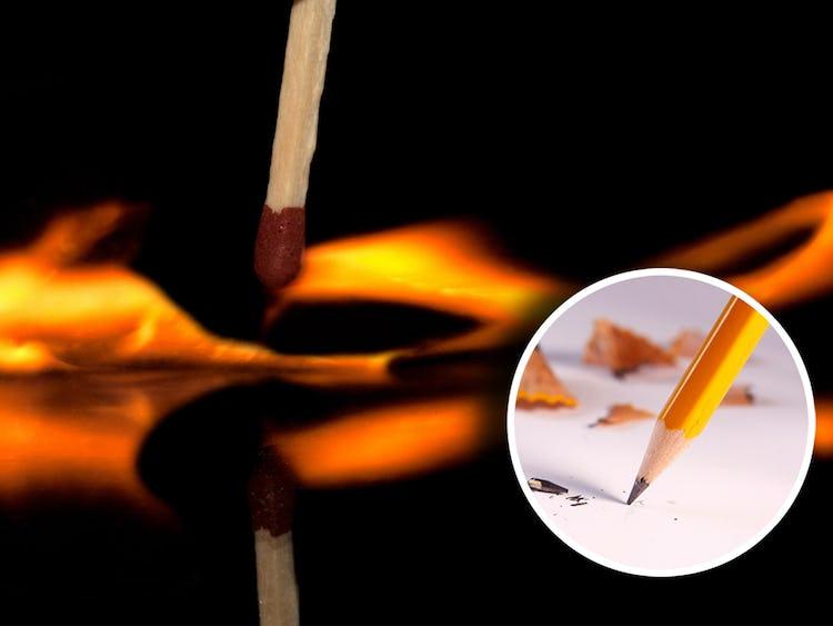 En tändsticka som tänder en eldslåga mot ett bland underlag, med en cirkel med en penna monterat över