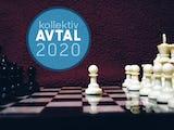 Ett schackbräde med en ikon för Avtal 2020 monterad över