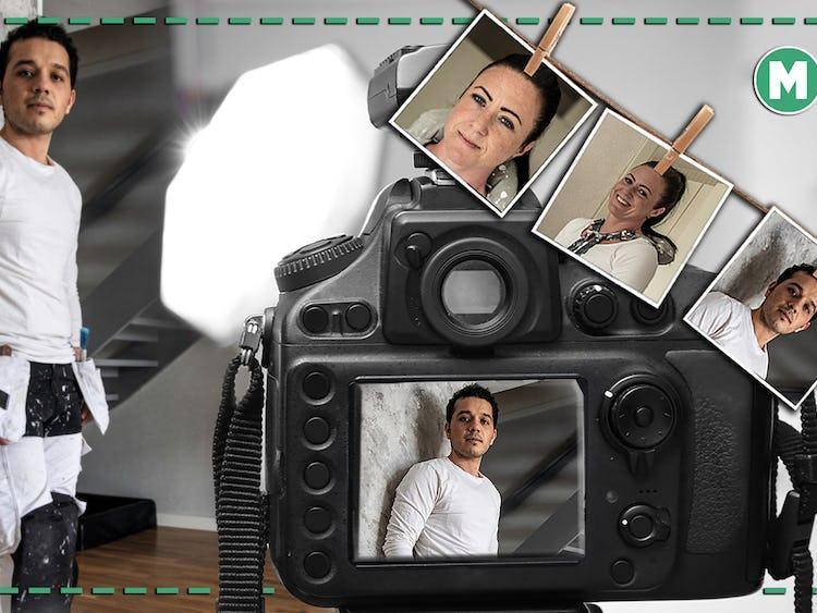 Ett bildmontage där Hafez Akabia blir fotad av en kamera, med snöre med foton på Maria Edström hängande över