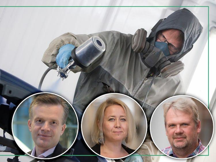Foton på Caj Luoma, Linda-Li Käld och Jan Olvenmo monterade över en bild på en lackerare sprayar takt på en bil.