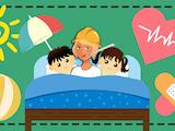 En tecknad person i bygghjälm och teremometer i munnen nedbäddad i en säng med två barn, omgivna av sol, bad och plåster.